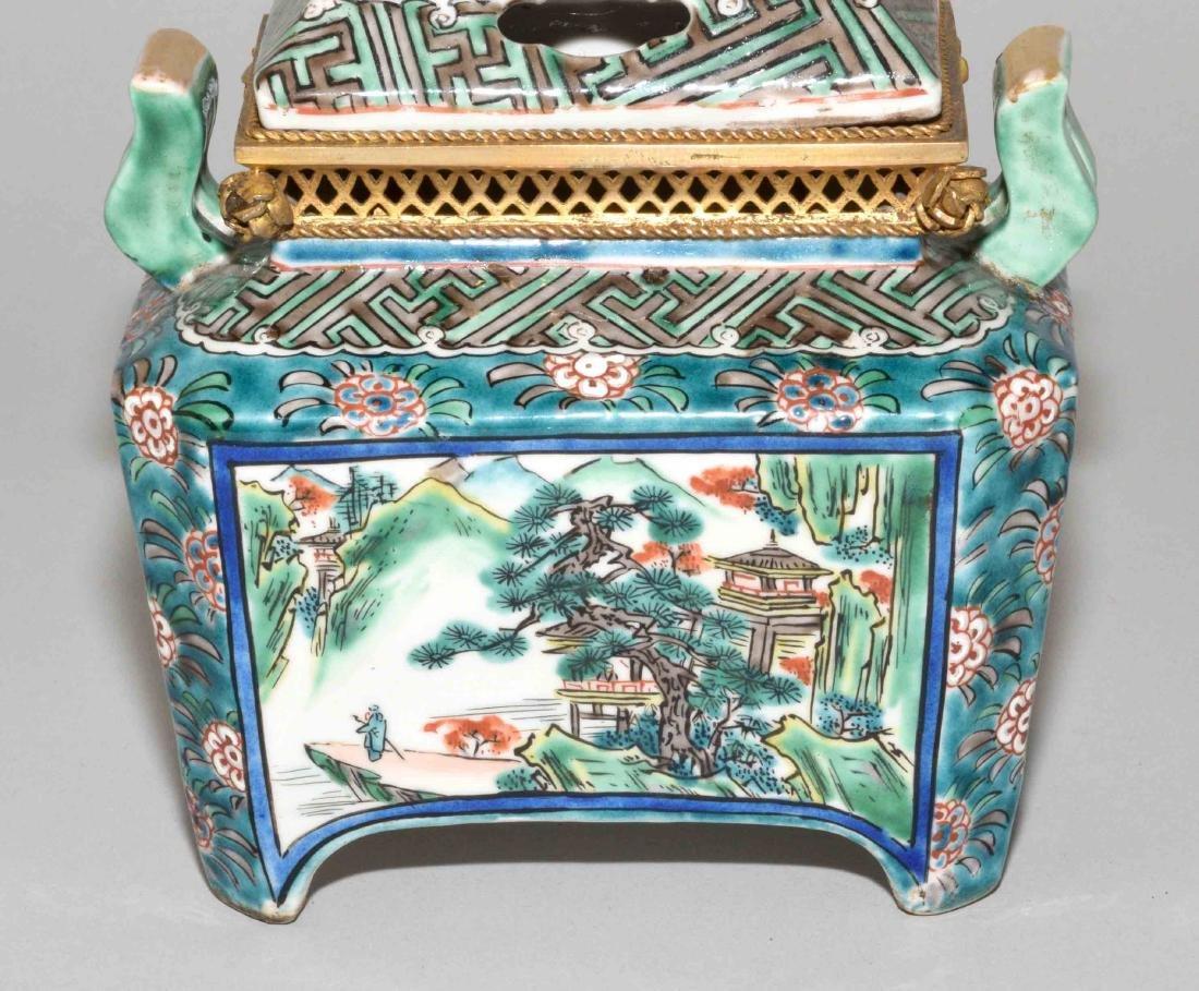 JAPANESE PORCELAIN INCENSE BURNER W/BRASS MOUNTS. 19th - 7