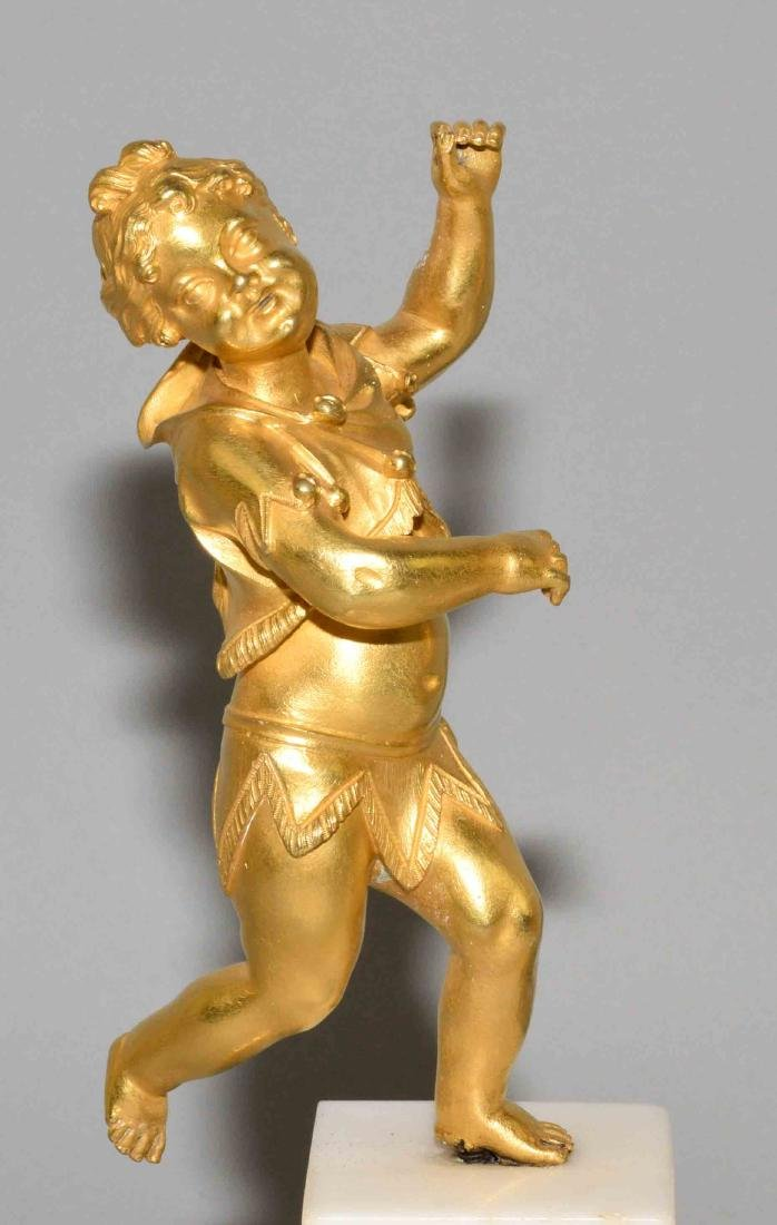 PAIR OF GILT BRONZE FIGURES OF PUTTI, late 19th C. on a - 2