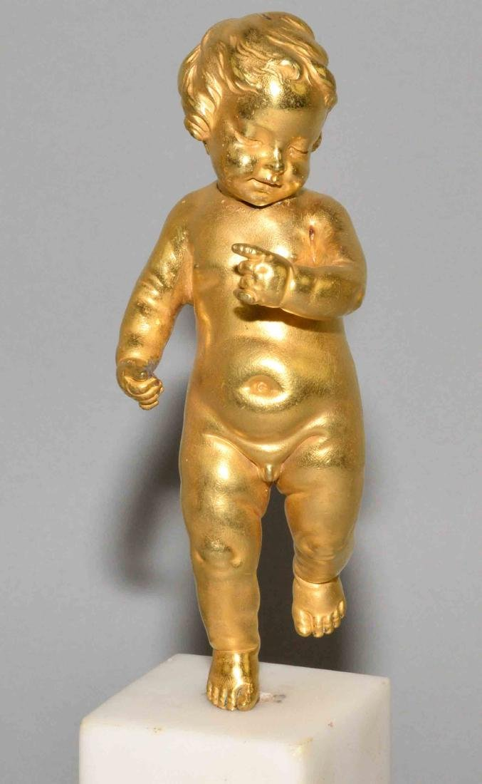 PAIR OF GILT BRONZE FIGURES OF PUTTI, late 19th C. on a - 3