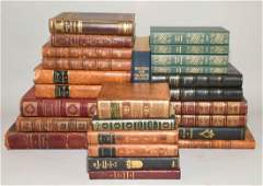 GROUP OF 26 ANTIQUE LEATHER BOUND VOLUMES IN FRENCH
