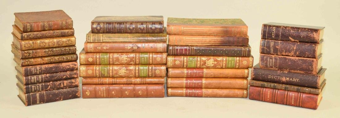 GROUP OF (29) ANTIQUE LEATHER BOUND VOLUMES IN FRENCH