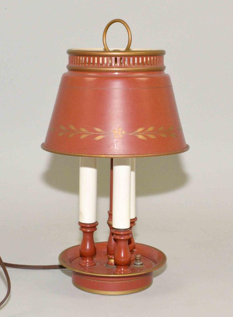 ANTIQUE SMALL RED TOLE 3-CANDLELIGHT LAMP. Condition: