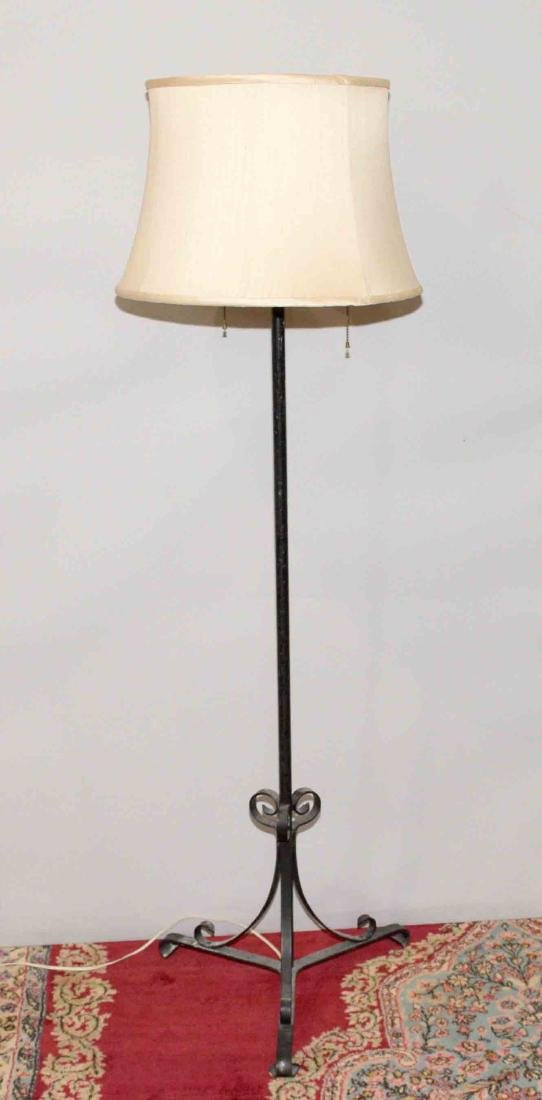 WROUGHT IRON TRIPOD FLOOR LAMP with 2-light candle arms