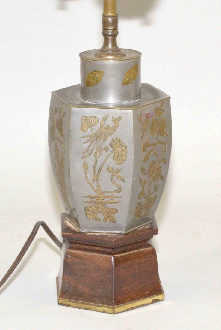 CHINESE PARCEL GILT PEWTER TEA CANISTER, drilled and - 2
