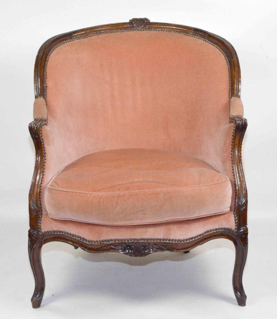 LOUIS XV STYLE FRUITWOOD BERGERE, 19TH C. covered in