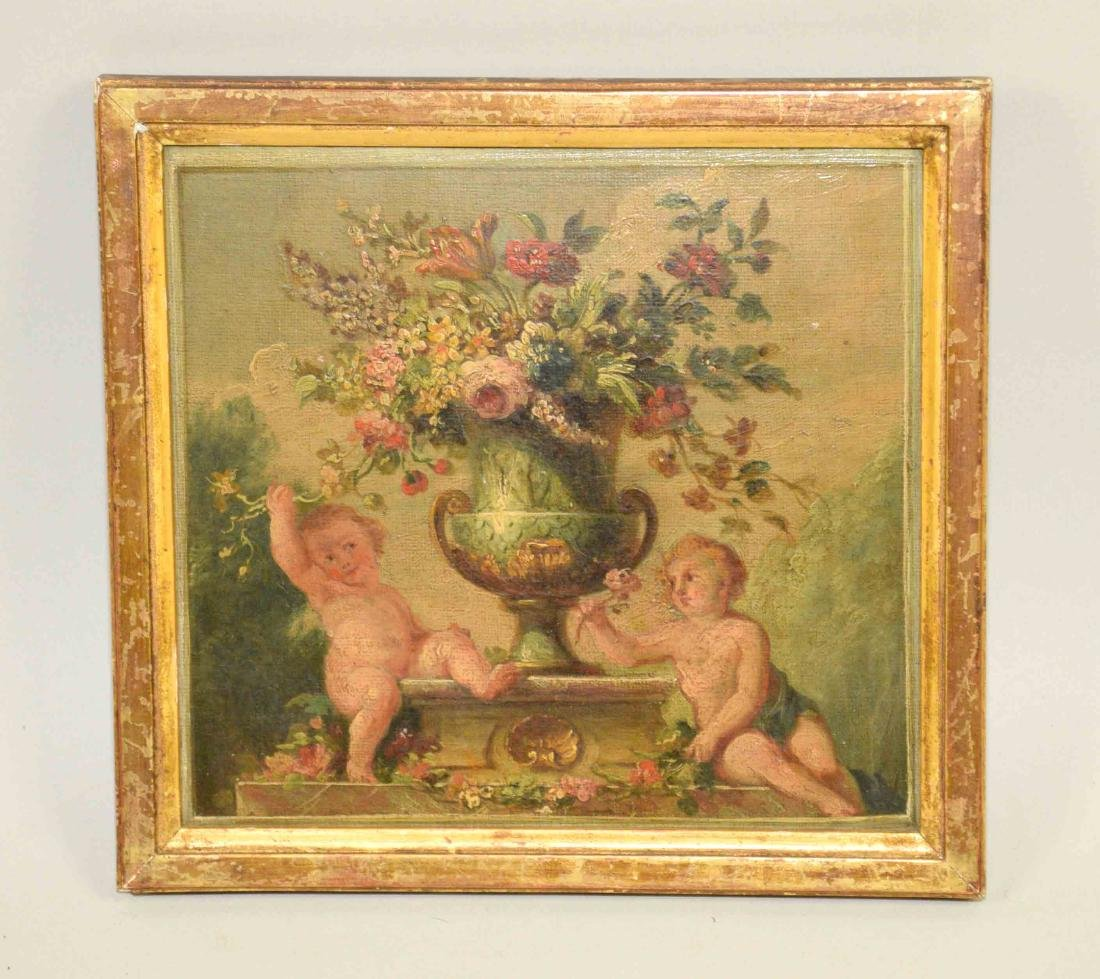 DECORATIVE FRENCH OIL, painting of a pair of Putti