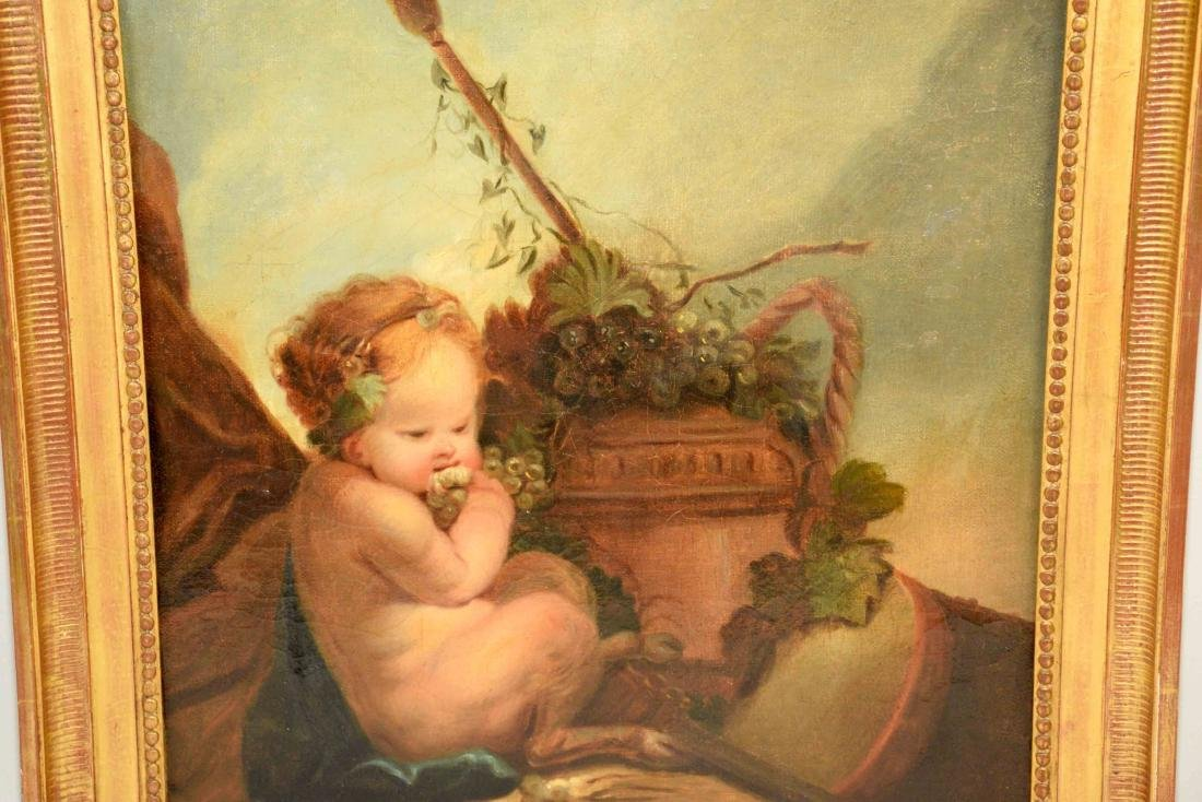 DECORATIVE FRENCH OIL, painting of a pair of Putti - 2
