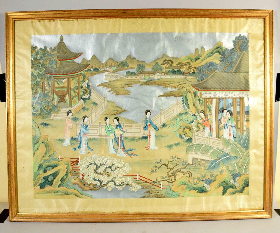 CHINESE PAINTING DEPICTING LADIES IN A GARDEN, 20th C.