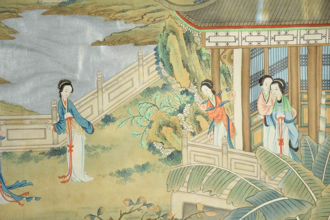 CHINESE PAINTING DEPICTING LADIES IN A GARDEN, 20th C. - 3