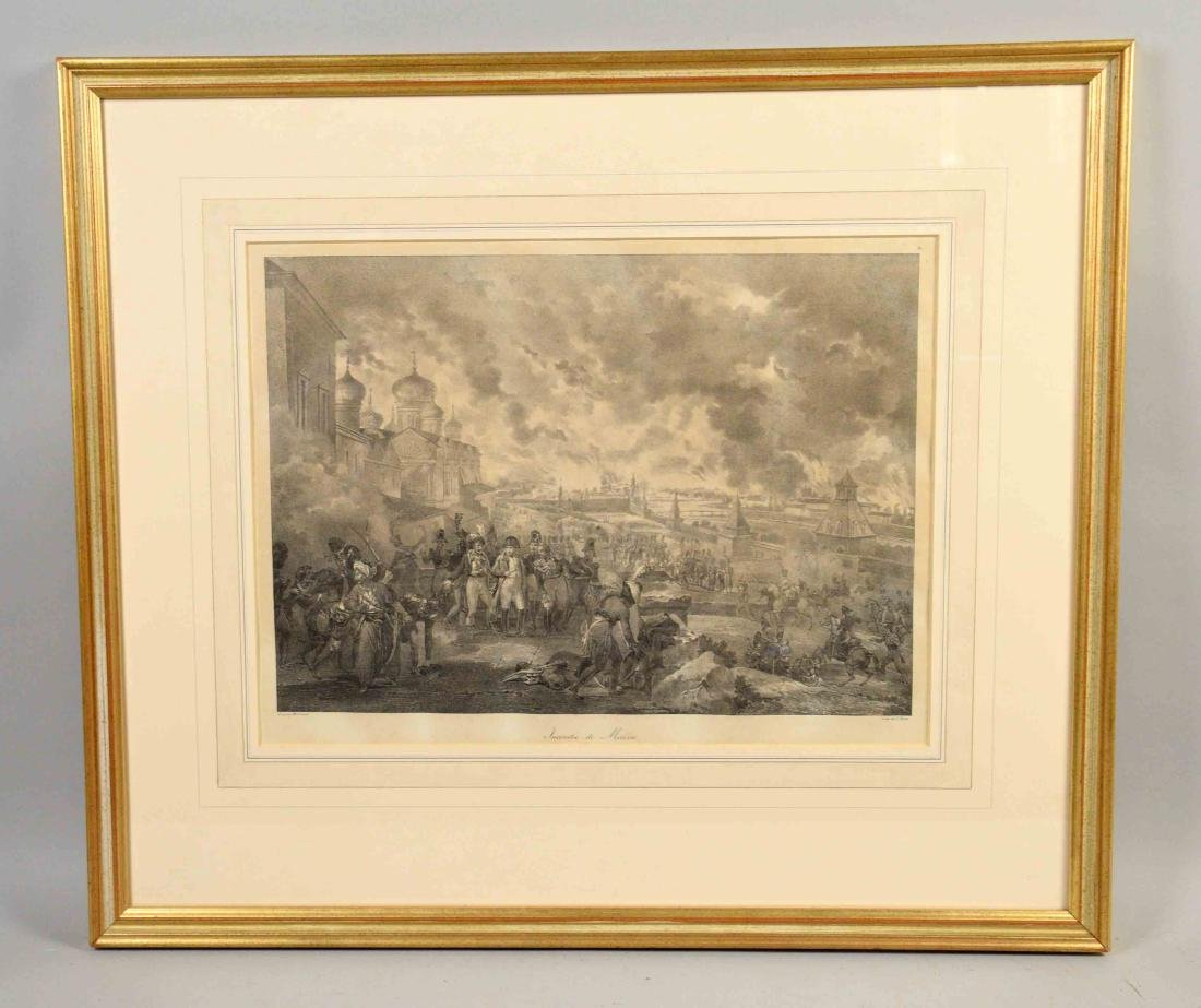 FRENCH BLACK AND WHITE LITHOGRAPH, ''Incendie de