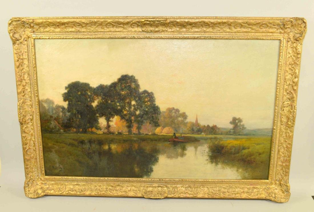 A. BYLANT RIVERSCAPE, oil on canvas (French 19th C.)