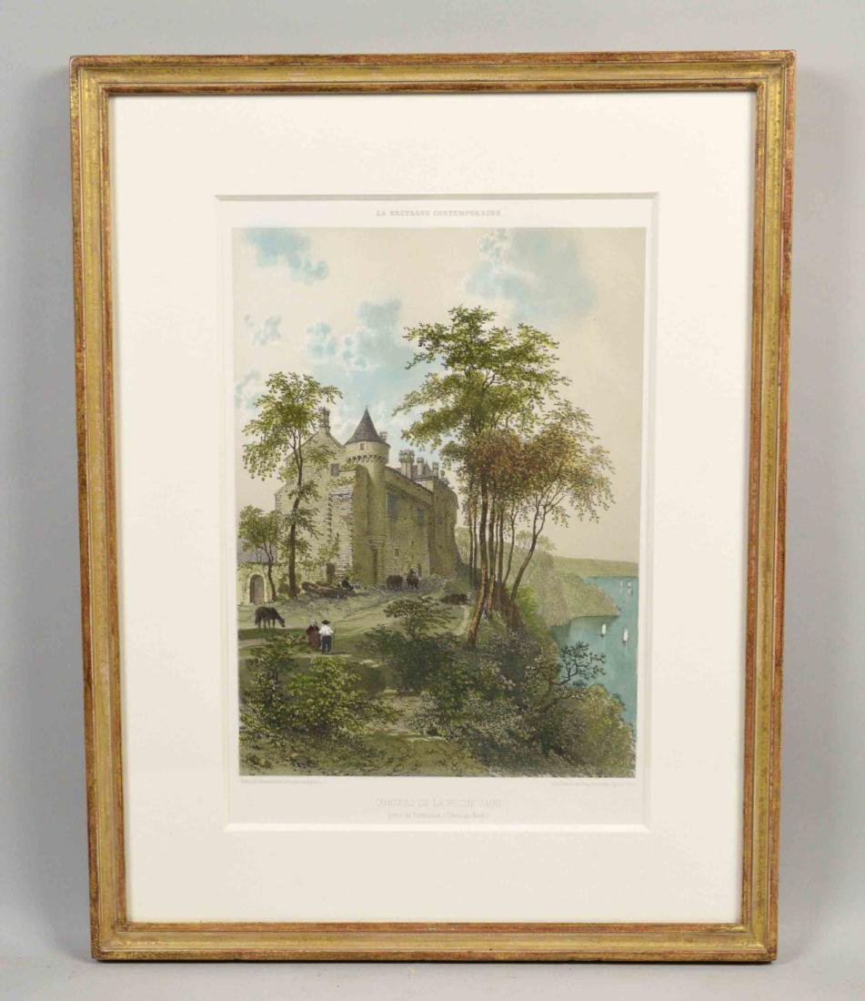 FRENCH HAND-COLORED LITHOGRAPH ''Chateau de la