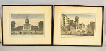 PAIR OF FRENCH HAND-COLORED ENGRAVINGS, 19th C. Titled