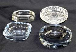 A COLLECTION OF4 CRYSTAL MIDCENTURY ASH TRAYS Two