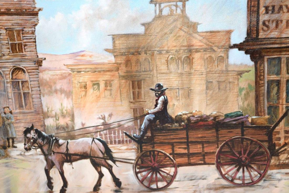 CONTEMPORARY OIL ON CANVAS PAINTING OF AMERICAN WESTERN - 5