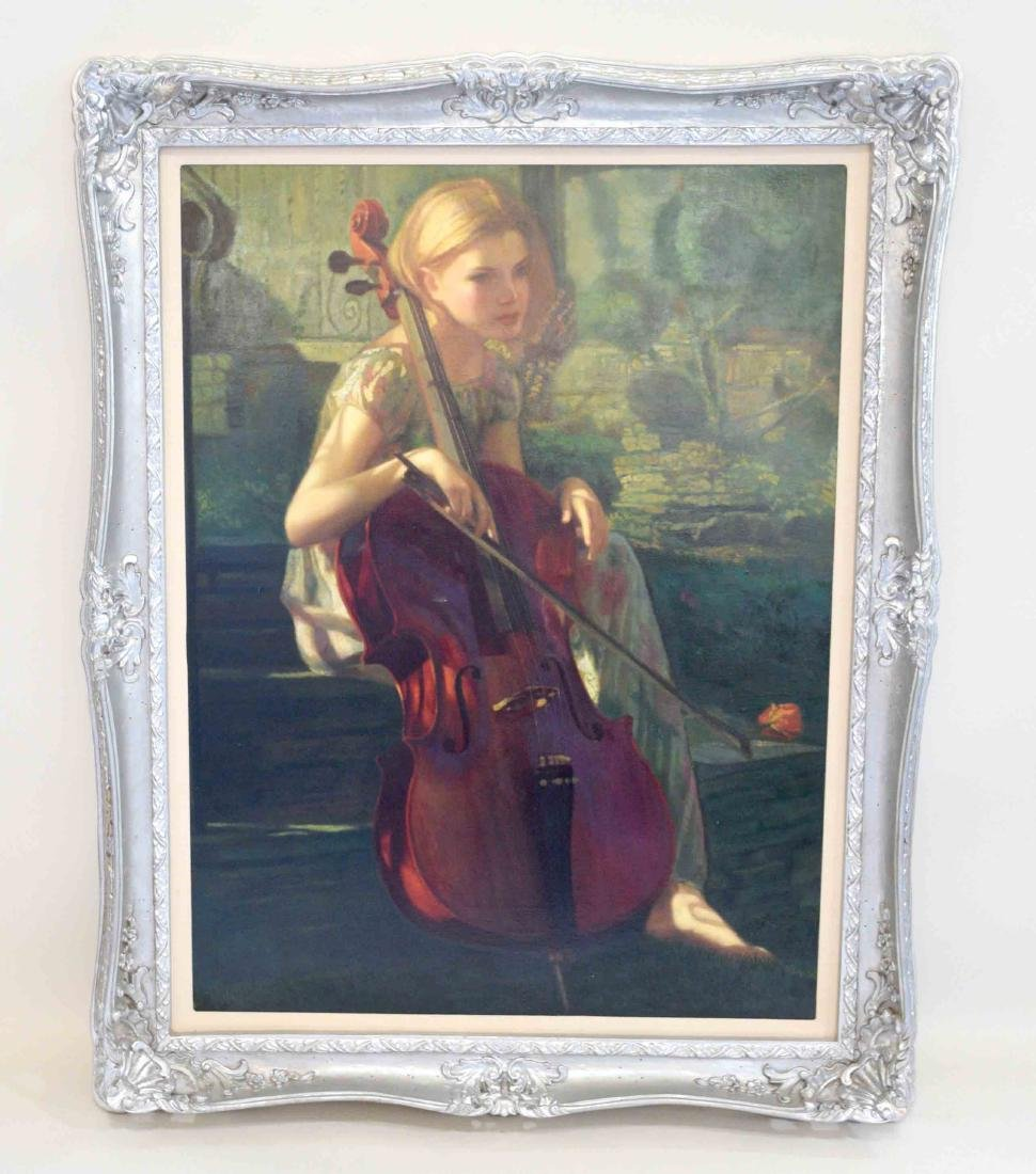 OIL PAINTING OF A YOUNG GIRL PLAYING A CELLO. 39.5''H x