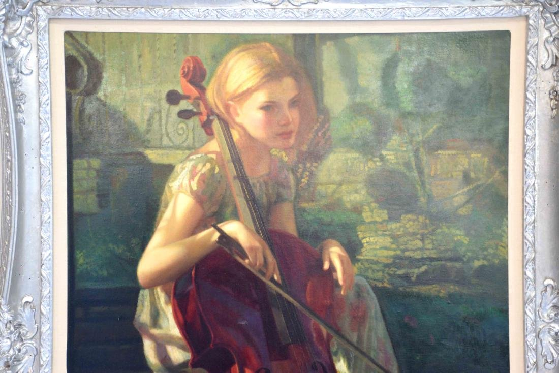 OIL PAINTING OF A YOUNG GIRL PLAYING A CELLO. 39.5''H x - 2