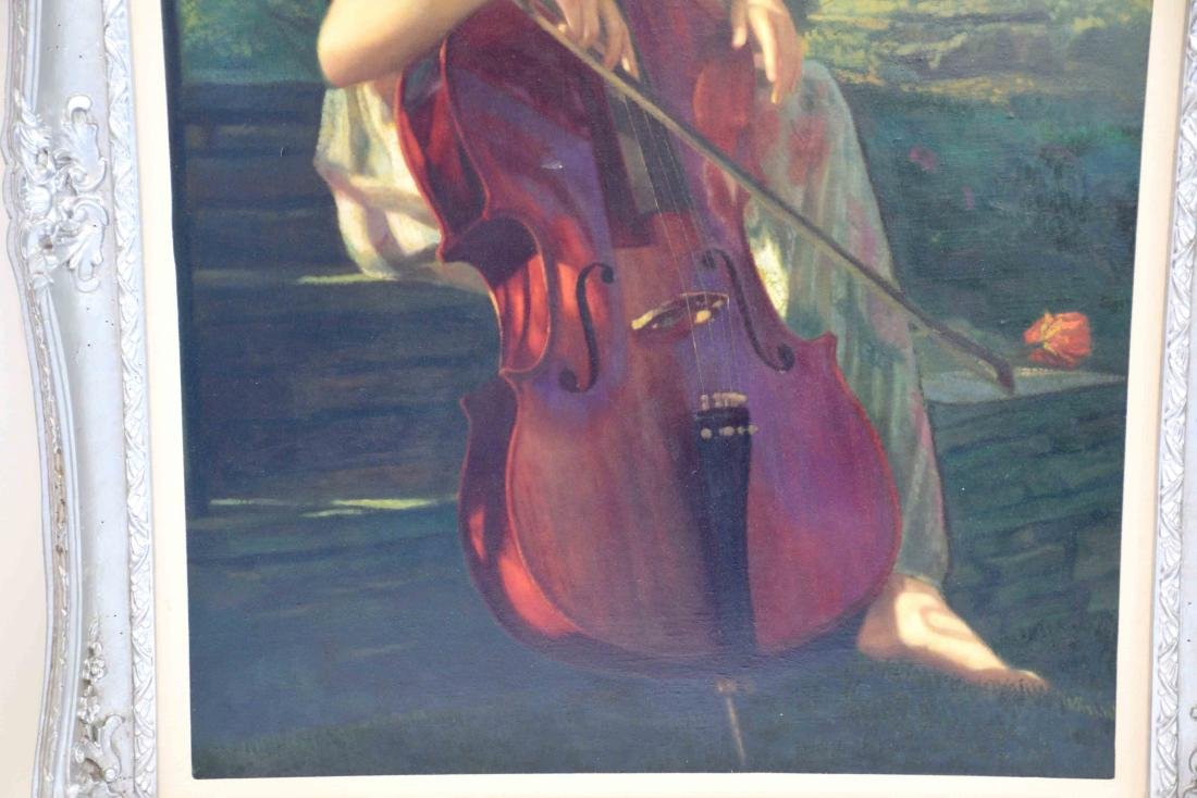 OIL PAINTING OF A YOUNG GIRL PLAYING A CELLO. 39.5''H x - 3