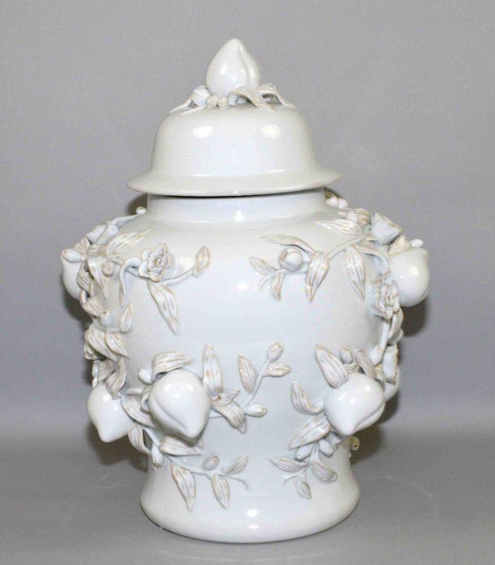 WHITE CHINESE PORCELAIN DECORATIVE LIDDED URN with