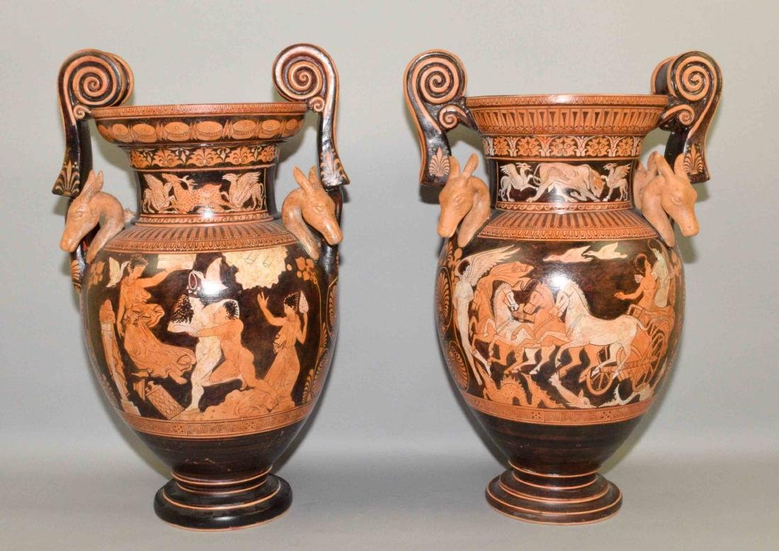 PAIR OF VASES/URNS PAINTED WITH CLASSICAL GREEK FIGURES