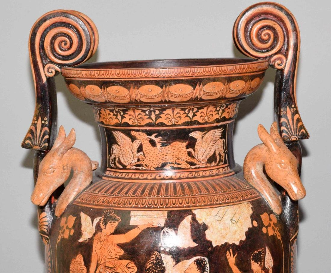 PAIR OF VASES/URNS PAINTED WITH CLASSICAL GREEK FIGURES - 5