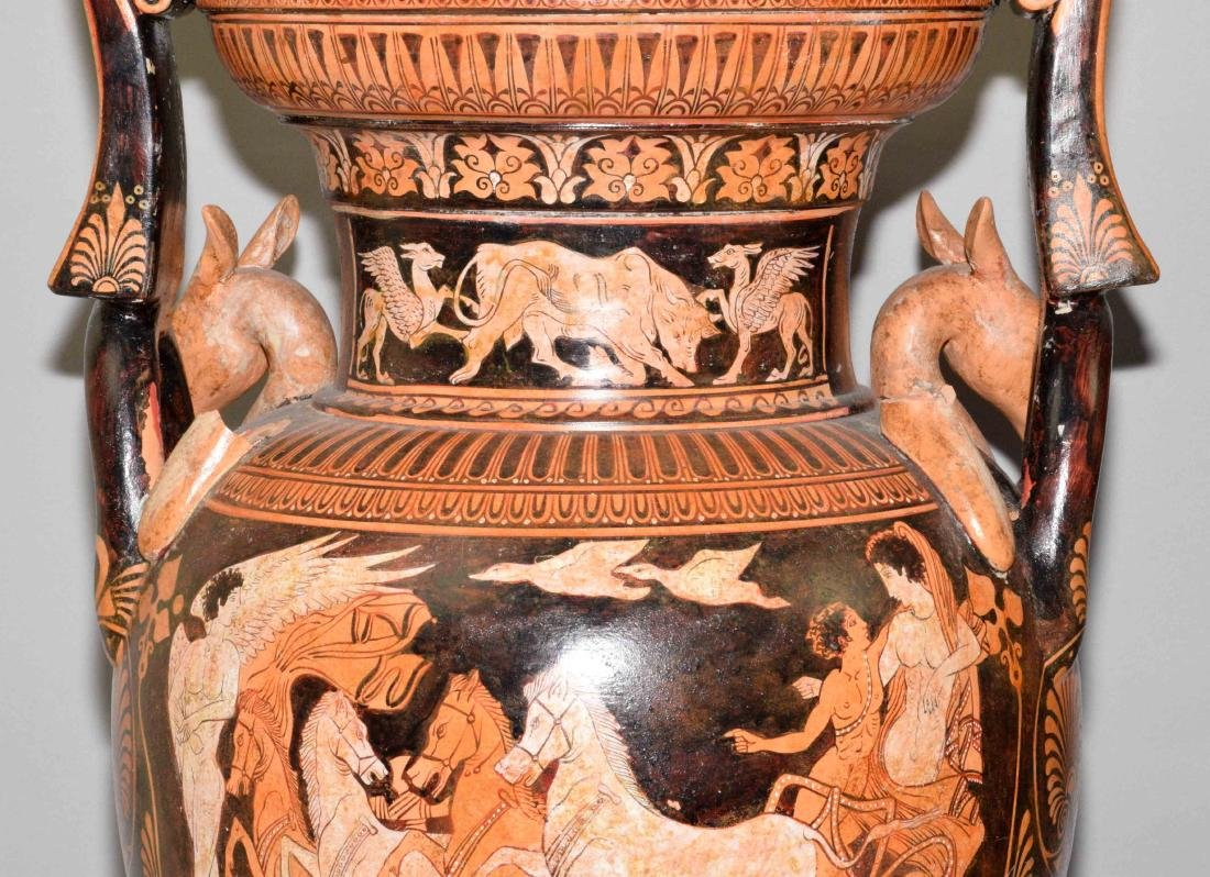 PAIR OF VASES/URNS PAINTED WITH CLASSICAL GREEK FIGURES - 7