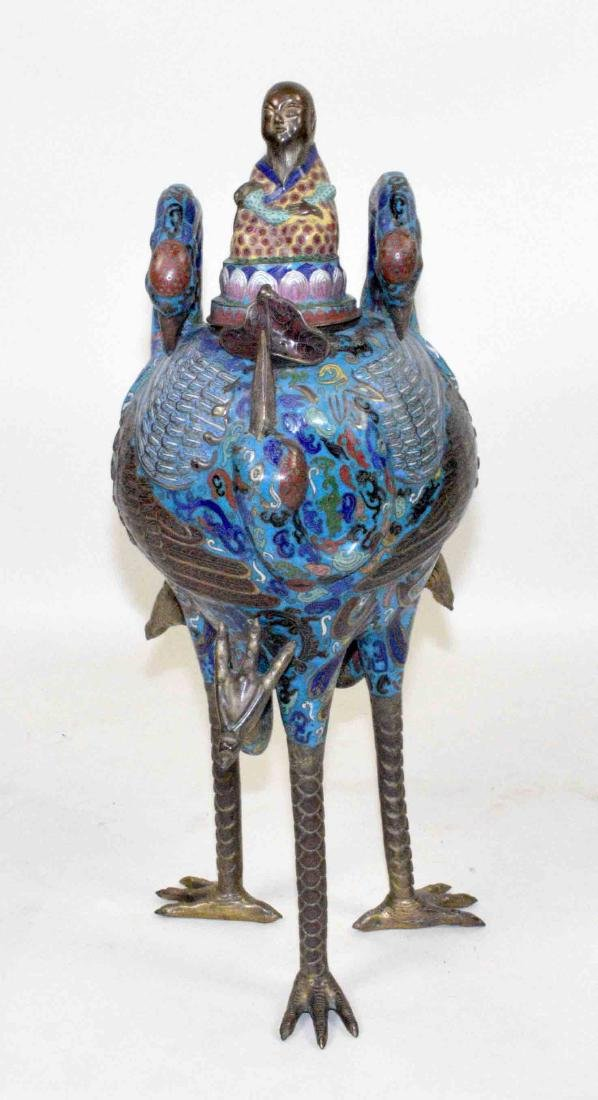 LARGE CHINESE CLOISONNE FIGURE OF A BIRD WITH THE LID