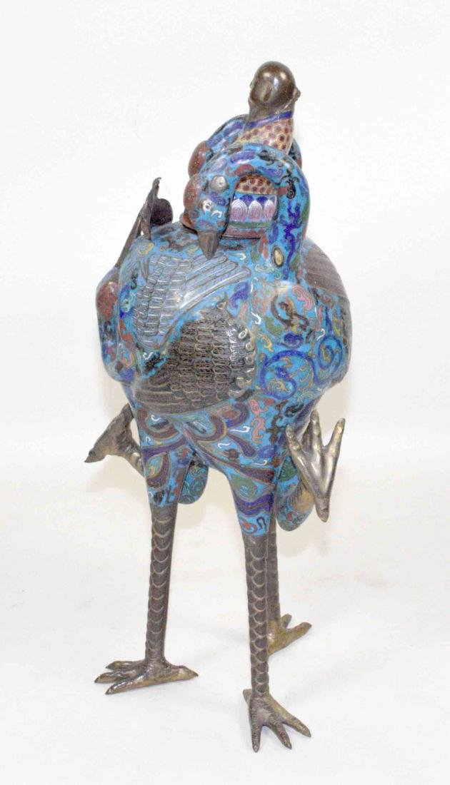 LARGE CHINESE CLOISONNE FIGURE OF A BIRD WITH THE LID - 5