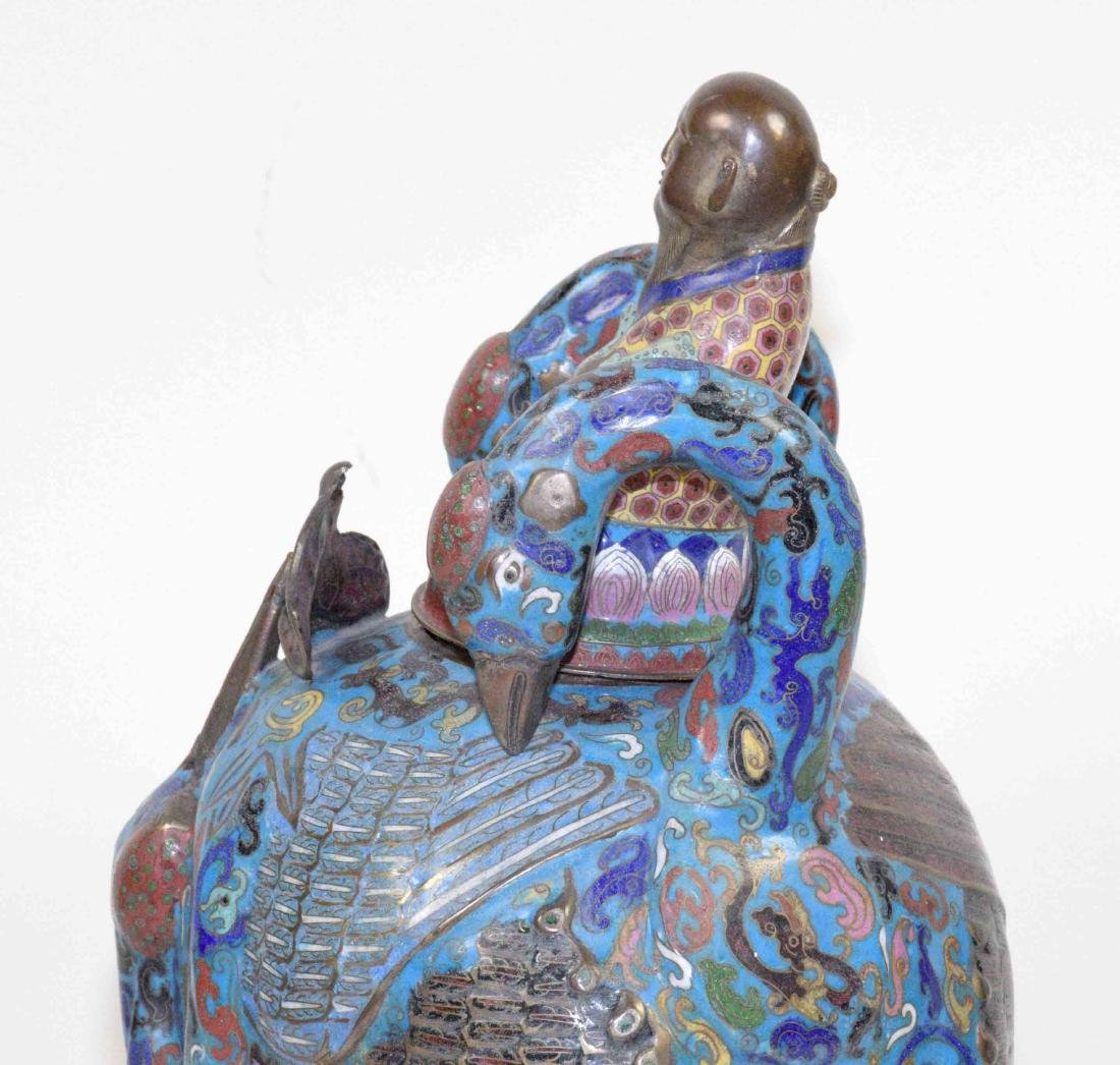 LARGE CHINESE CLOISONNE FIGURE OF A BIRD WITH THE LID - 6