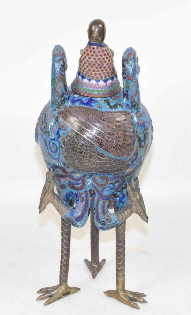 LARGE CHINESE CLOISONNE FIGURE OF A BIRD WITH THE LID - 7