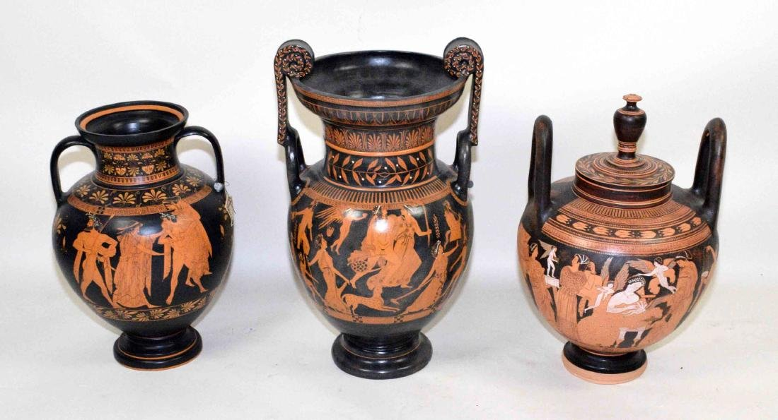 THREE VASES PAINTED WITH CLASSICAL GREEK FIGURES