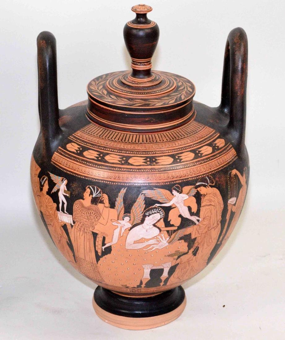 THREE VASES PAINTED WITH CLASSICAL GREEK FIGURES - 4