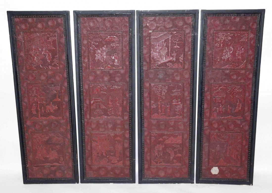 CHINESE SET OF (4) CINNEBAR LACQUERED PLAQUES, some