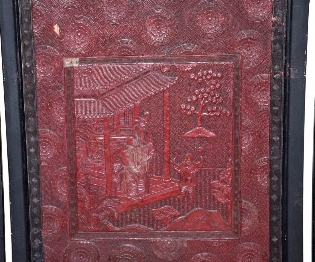 CHINESE SET OF (4) CINNEBAR LACQUERED PLAQUES, some - 7