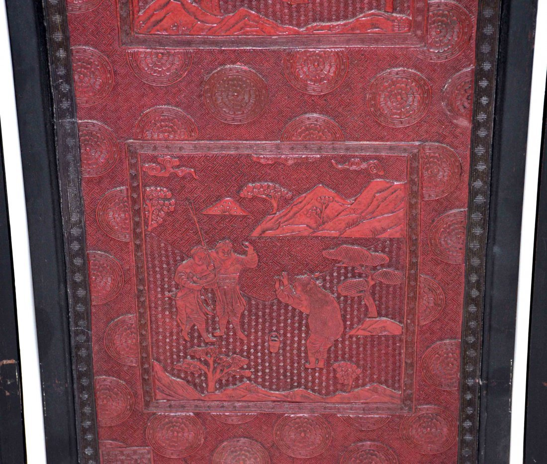 CHINESE SET OF (4) CINNEBAR LACQUERED PLAQUES, some - 8