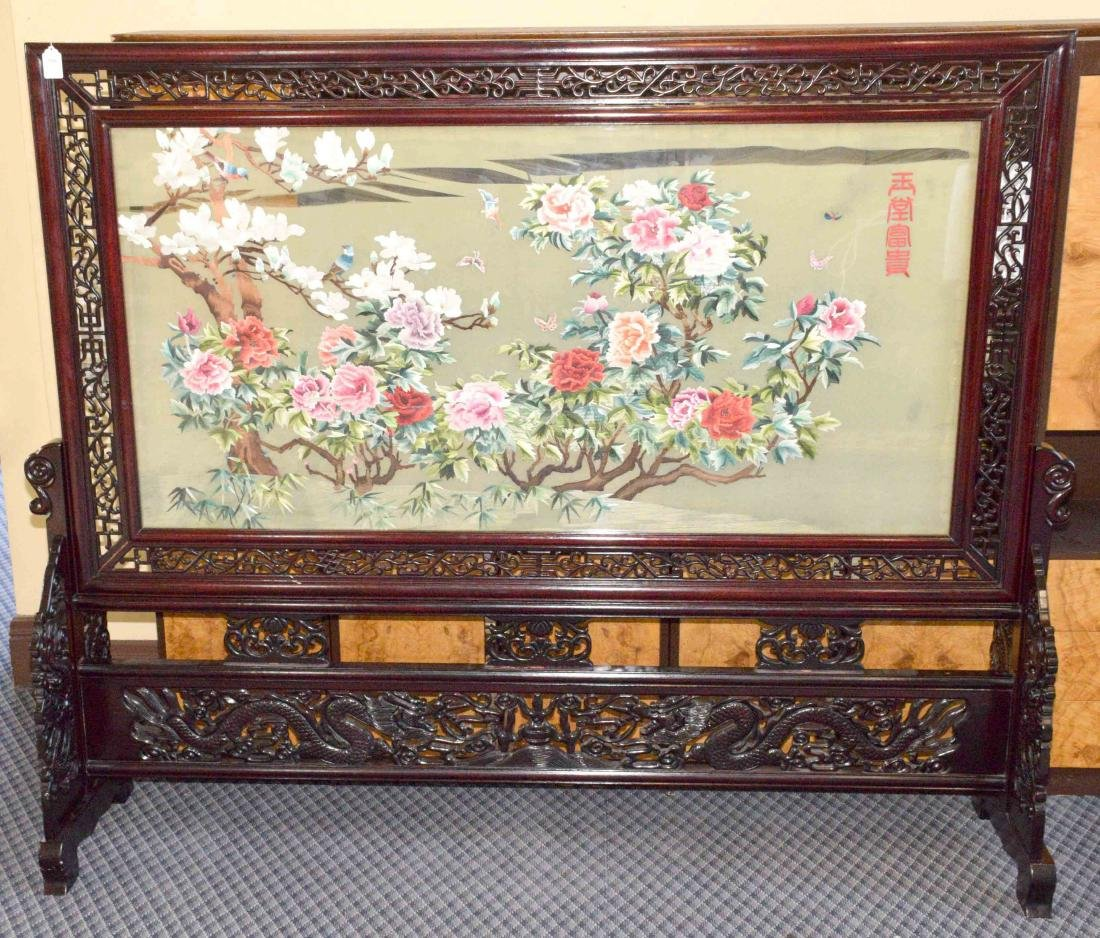LARGE ASIAN SILK SCREEN W/STAND, intricately
