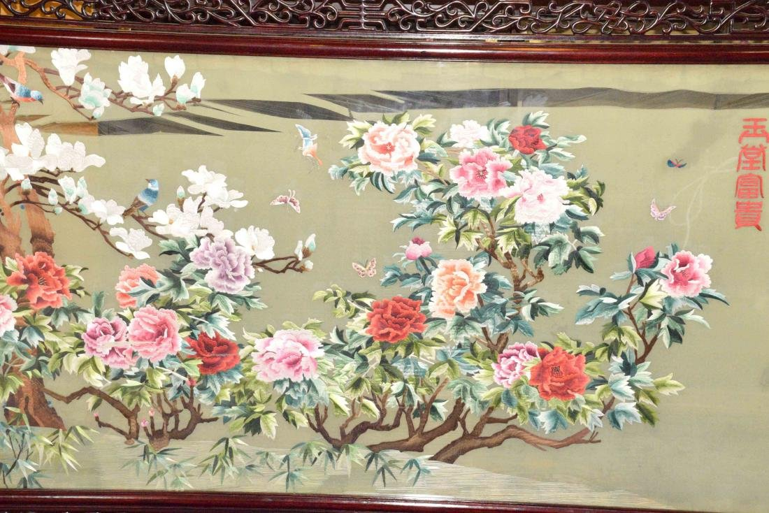 LARGE ASIAN SILK SCREEN W/STAND, intricately - 3