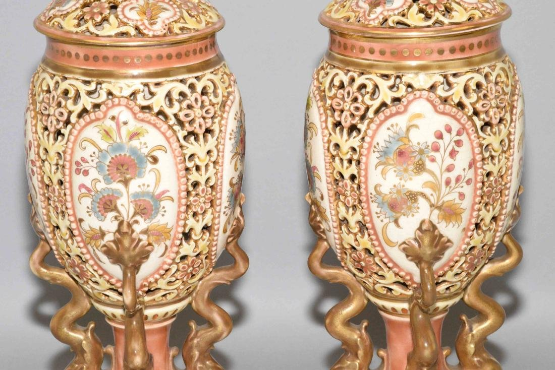 PAIR OF ZSOLNAY GLAZED RETICULATED CERAMIC LIDDED URNS, - 3