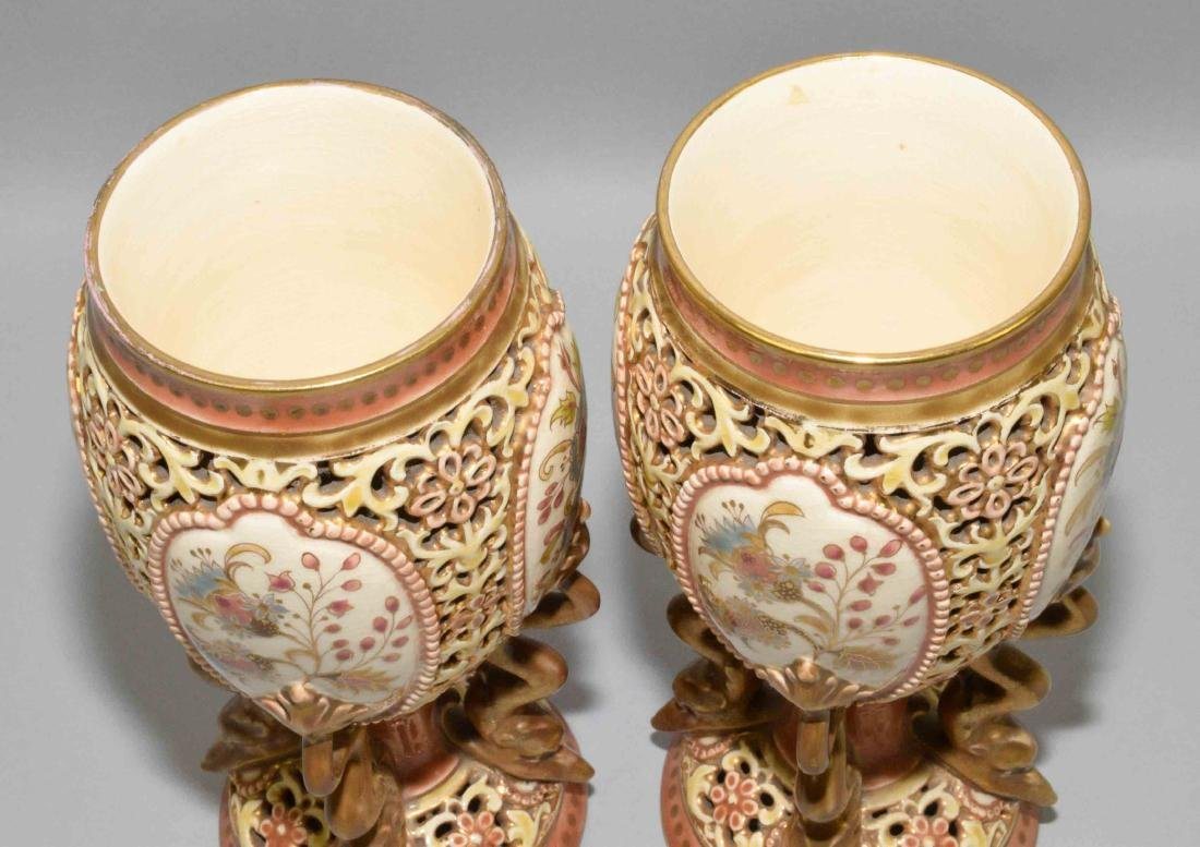 PAIR OF ZSOLNAY GLAZED RETICULATED CERAMIC LIDDED URNS, - 6