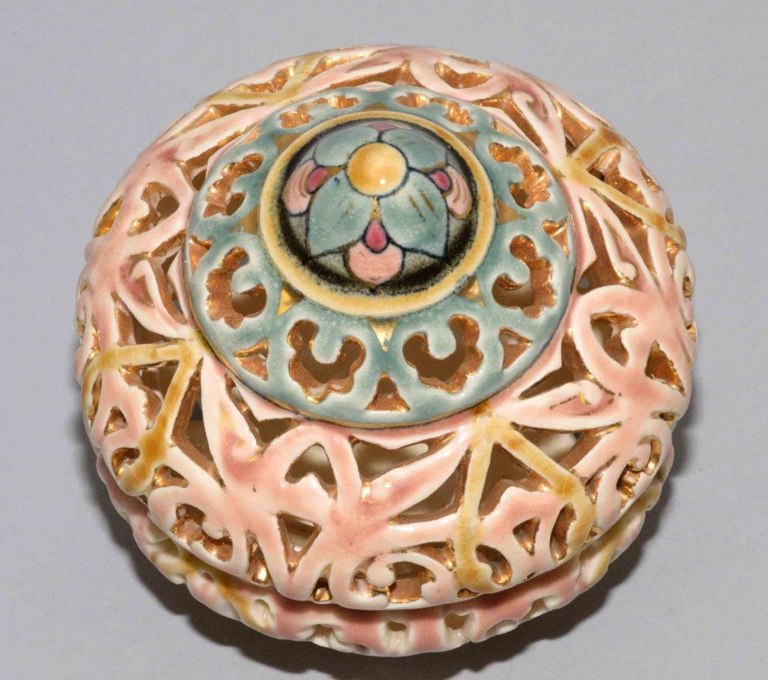 ZSOLNAY GLAZED RETICULATED CERAMIC ROUND LIDDED BOX. - 2