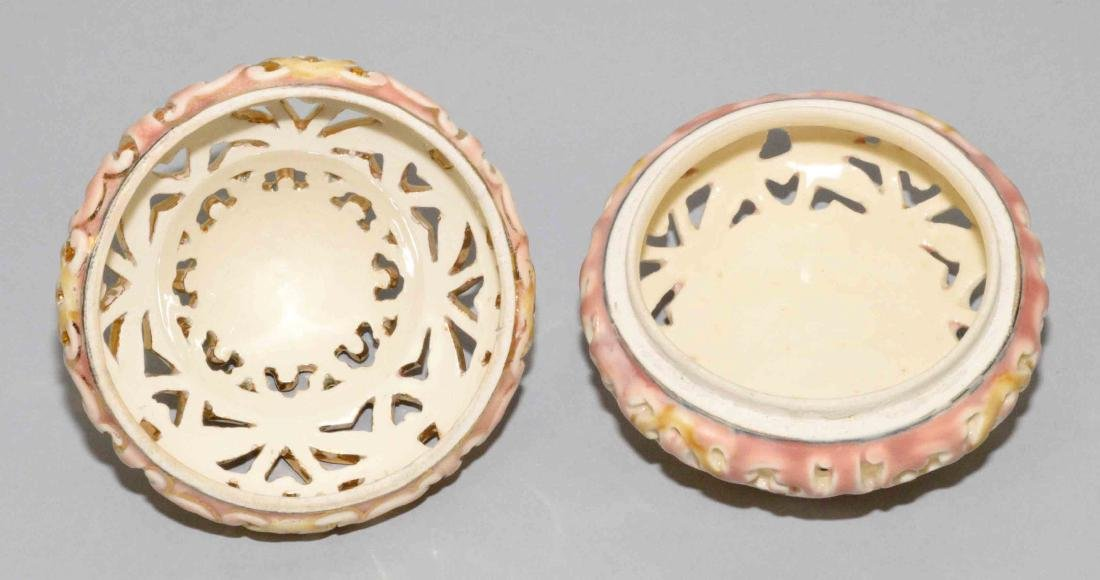ZSOLNAY GLAZED RETICULATED CERAMIC ROUND LIDDED BOX. - 3