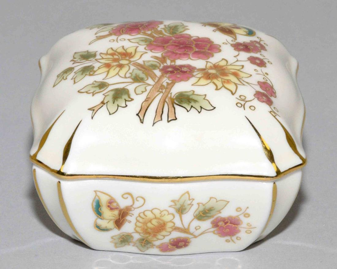 ZSOLNAY GLAZED CERAMIC LIDDED BOX, Hungary 1999. 3''W x