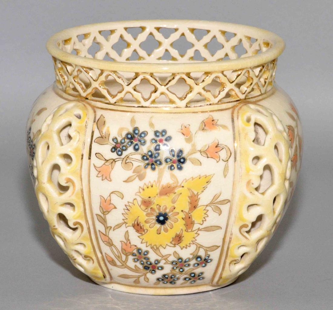 ZSOLNAY GLAZED RETICULATED CERAMIC BOWL,