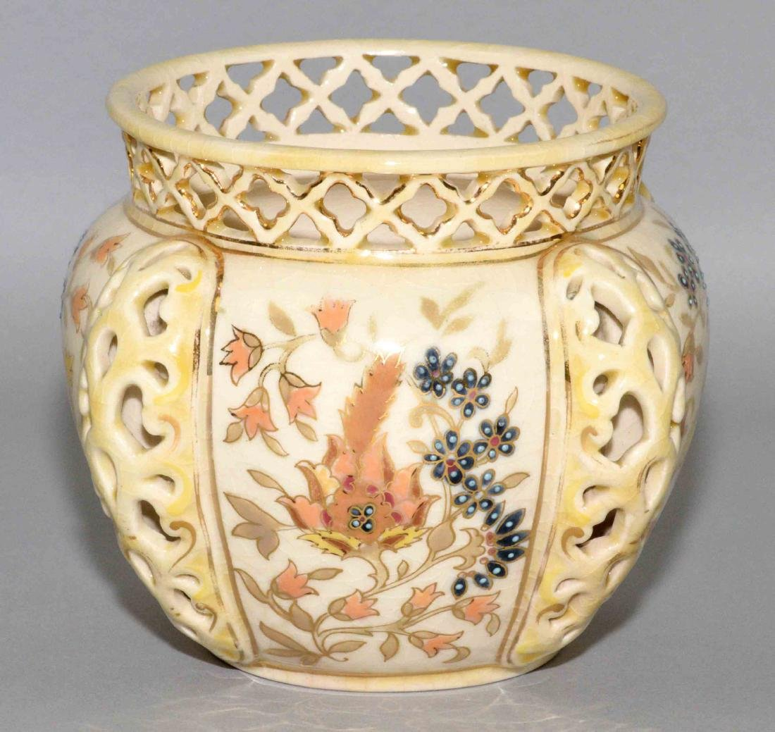 ZSOLNAY GLAZED RETICULATED CERAMIC BOWL, - 2
