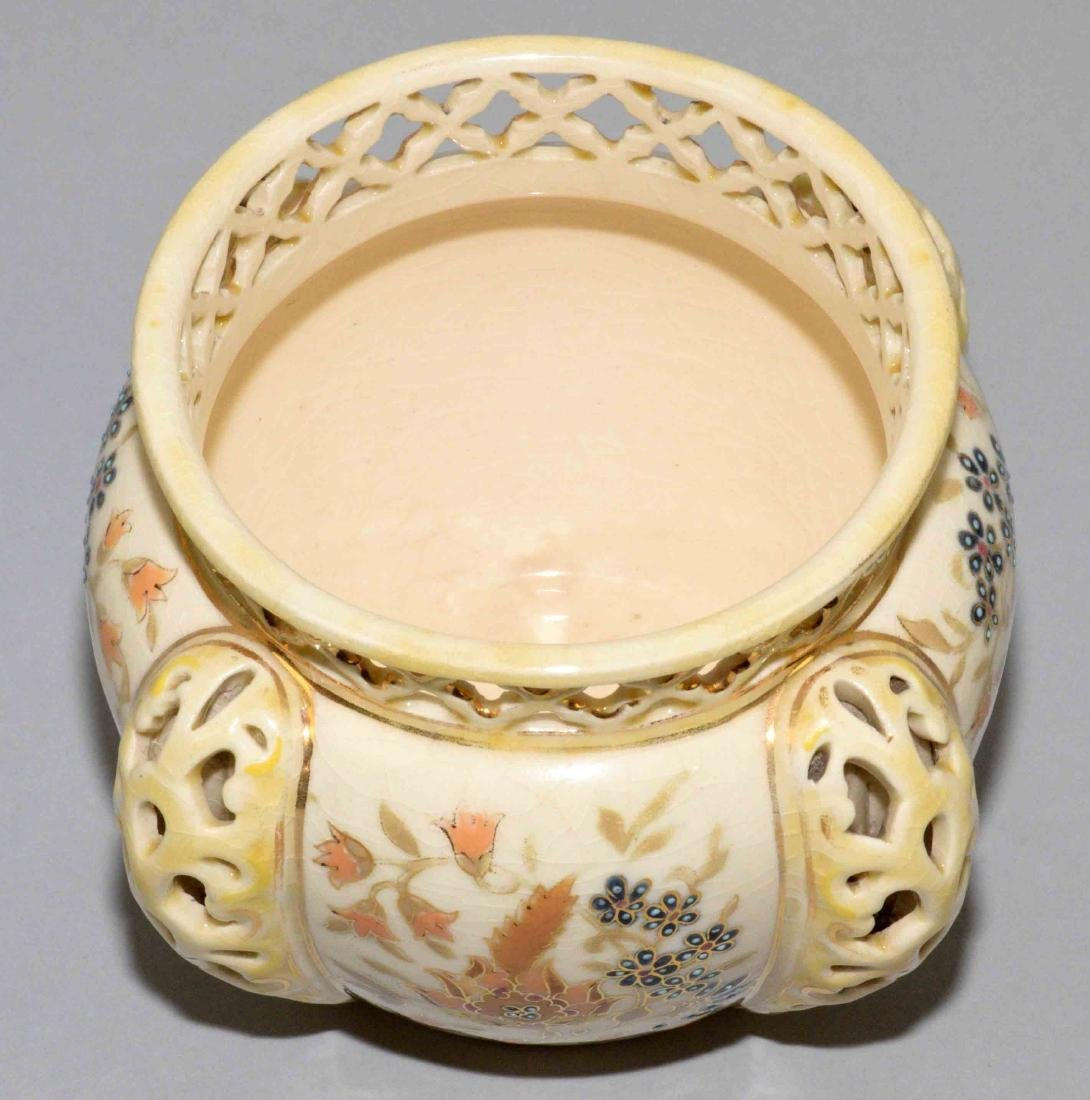 ZSOLNAY GLAZED RETICULATED CERAMIC BOWL, - 3