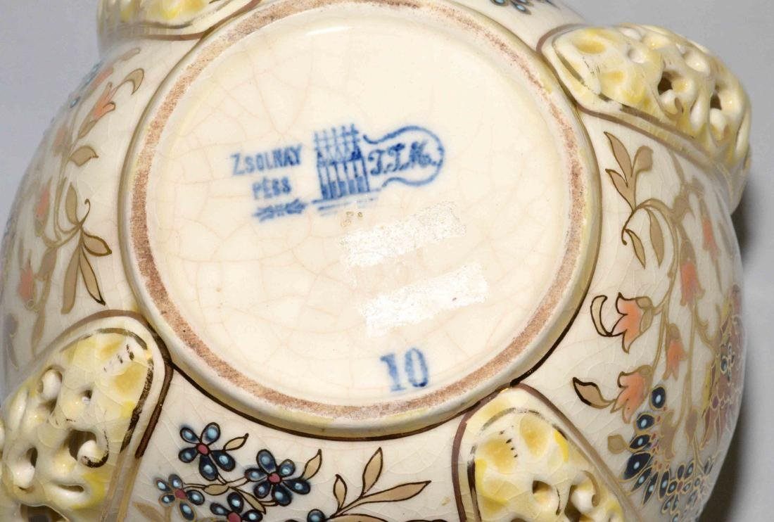 ZSOLNAY GLAZED RETICULATED CERAMIC BOWL, - 4
