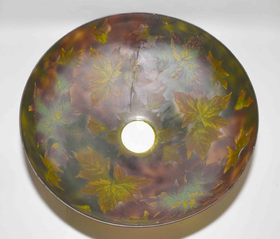 PITTSBURGH PAINTED GLASS SHADE with crack on unusual - 2