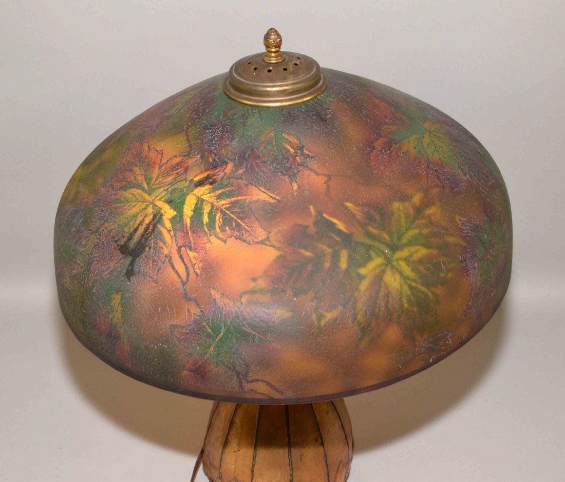 PITTSBURGH PAINTED GLASS SHADE with crack on unusual - 5