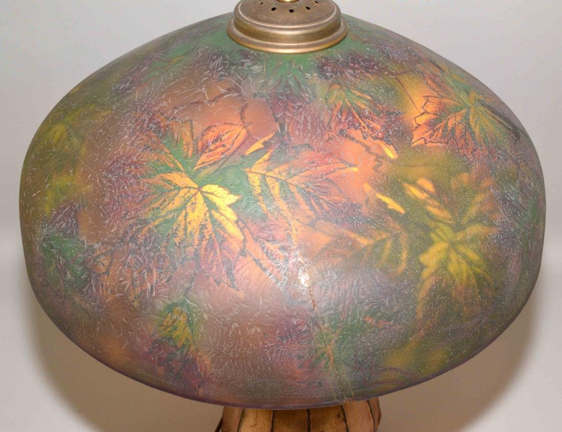 PITTSBURGH PAINTED GLASS SHADE with crack on unusual - 6
