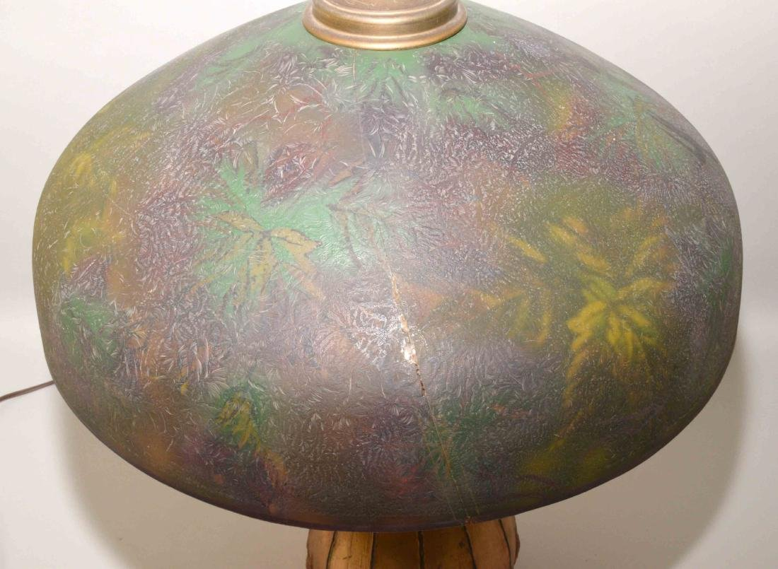 PITTSBURGH PAINTED GLASS SHADE with crack on unusual - 7
